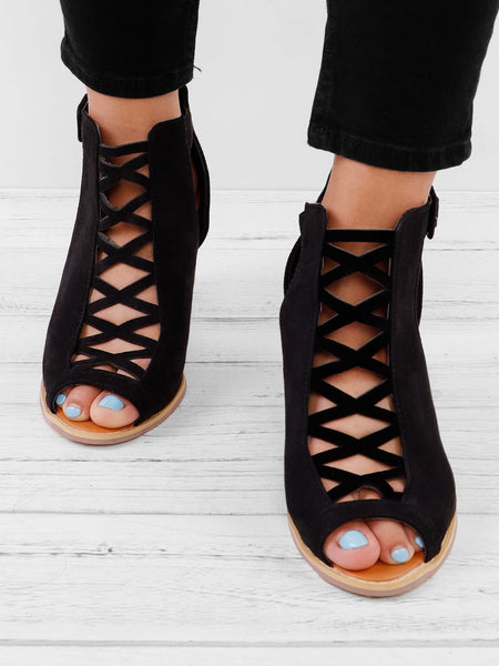Women Peep Toe Chunky Heel Sandals Ankle Strap Zipper Back Pumps