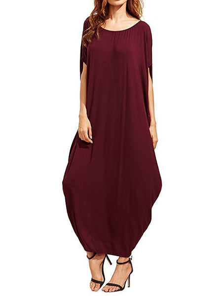 Casual Short Sleeve Crew Neck Cocoon Maxi Dress