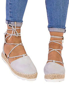 Solid Color Lace-Up Hollow Ankle Strap Flats