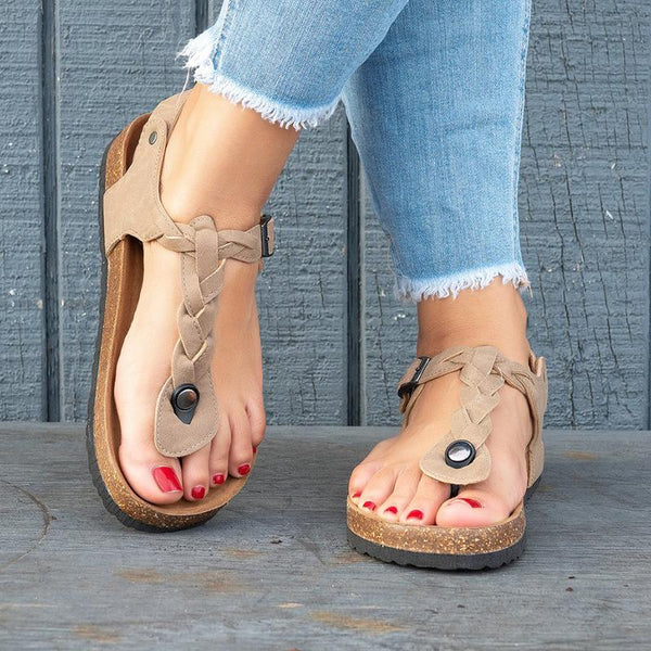 Women Faux Leather Sandals Casual Flip Flops Shoes