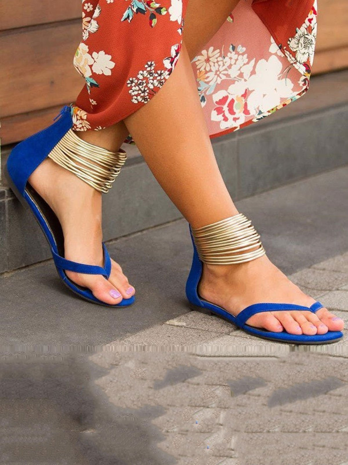 Solid Color Thong Sequins Zipper Flats