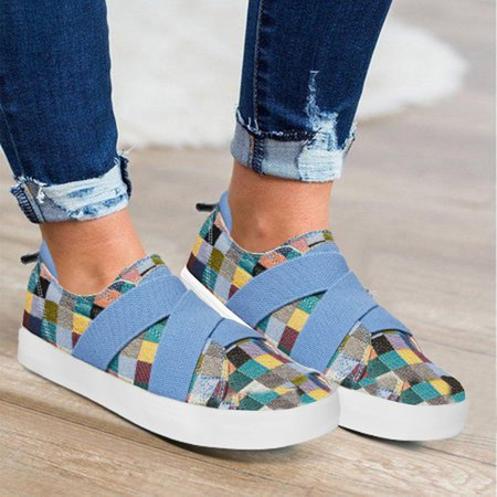 Women's Easy Slip-on Elastic Band Sneakers Plus Size Shoes
