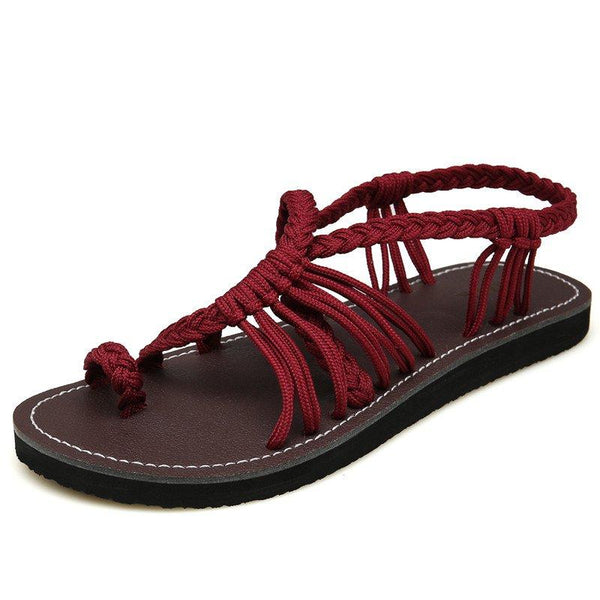 Summer Handmade Breathable Bandage Beach Flat Sandals