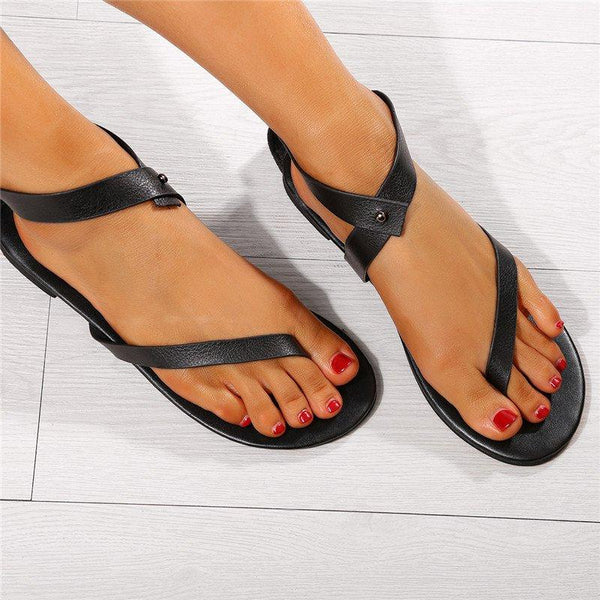 Women Plus Size Flip-flops PU Sandals Ankle Wrap Flat Sandals