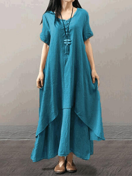 Plus Size Casual Short Sleeve V Neck Solid Maxi Dress