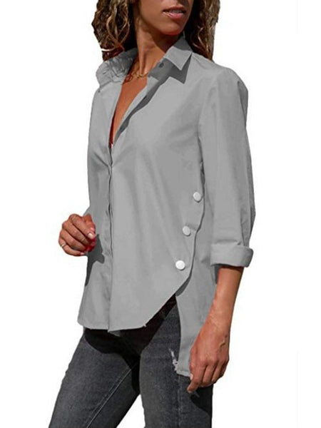Casual Chiffon Long Sleeve Solid Plus Size Women Shirt