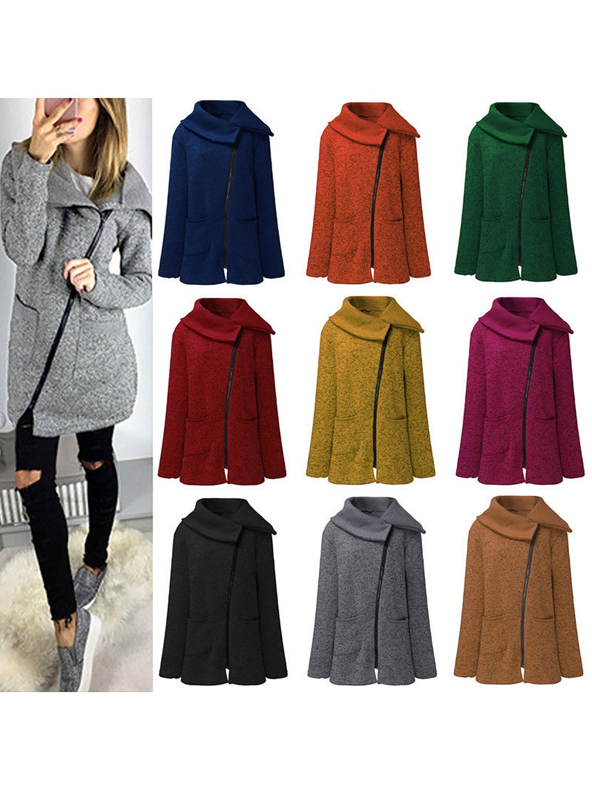 Annychloe Paneled Solid Cotton Winter Plus Size Side Zipper Coat