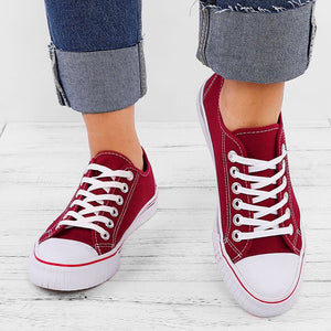 Big Size Pure Color Lace Up Casual Canvas Flat Shoes