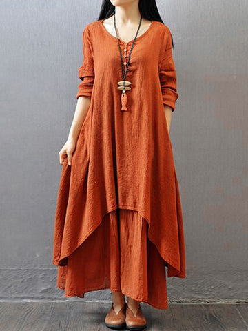 Plus Size Asymmetrical Casual Solid Linen Maxi Dress