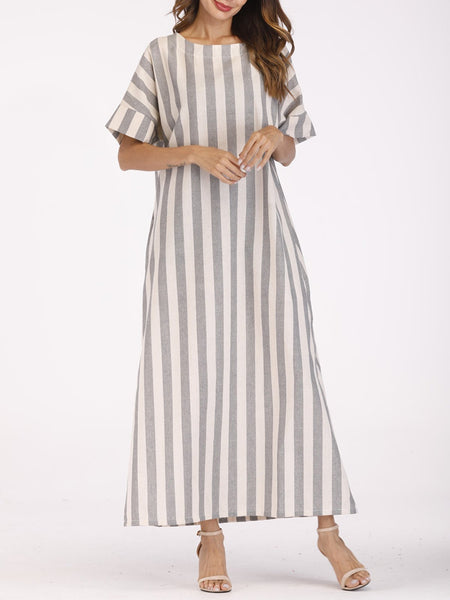 Gray Casual Short Sleeve Striped Crew Neck Dresses