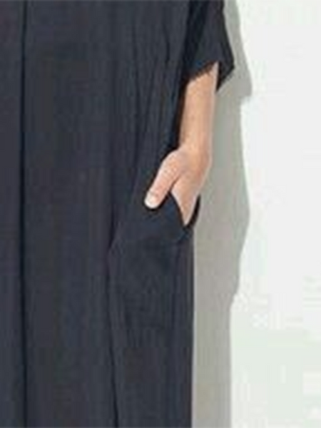 Asymmetrical 3/4 Sleeve Plunging Neck Maxi Dress