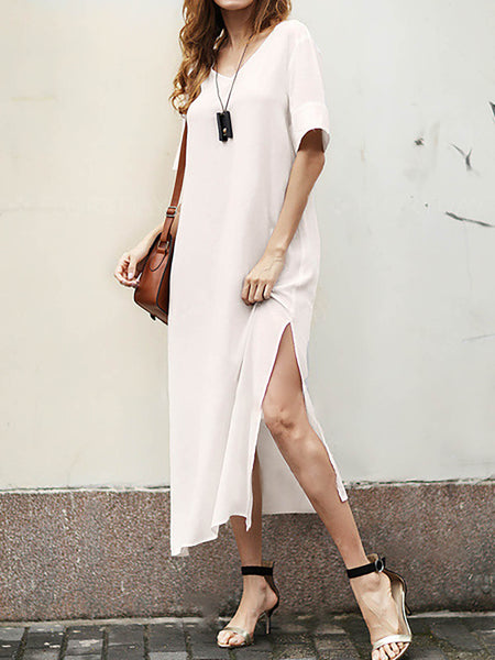 V neck White A-line Women Daily Half Sleeve Basic Cotton  Summer Dress