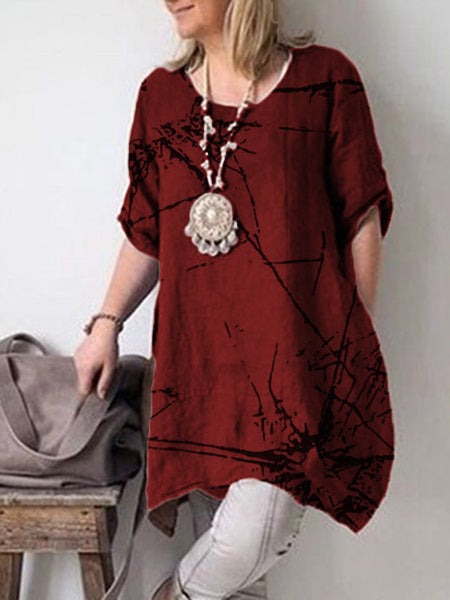 Casual Crew Neck Short Sleeve Cotton Dresses