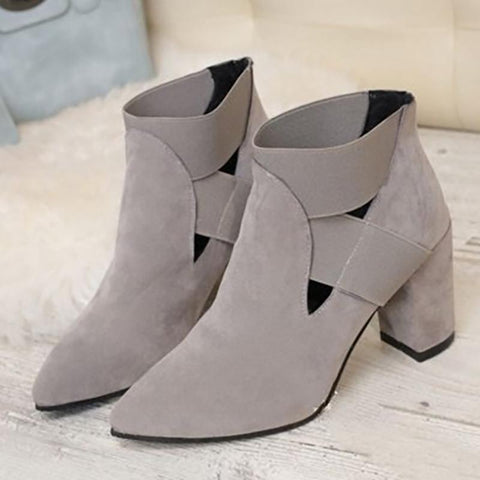 Brown Casual Hollow-out Chunky Heel Winter Plus Size Boots