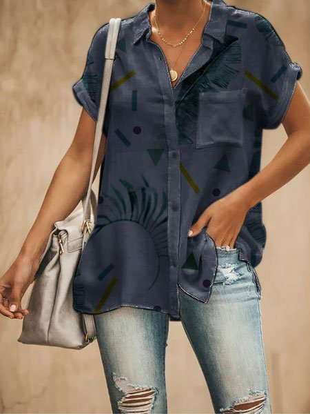 V Neck Floral Short Sleeve Cotton-Blend Shirts & Tops