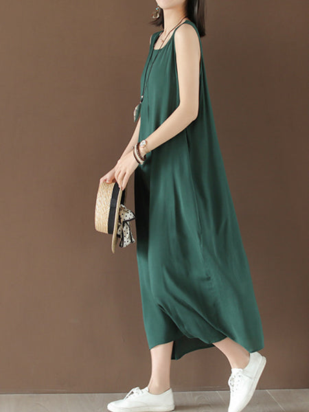 Casual Cotton Solid Sleeveless Maxi Dresses