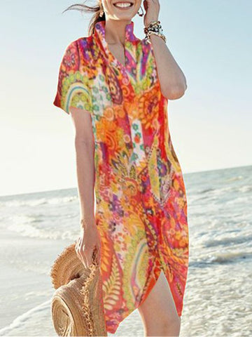 Plus Size Women Short Sleeves V Neck Floral Loose Casual Dress