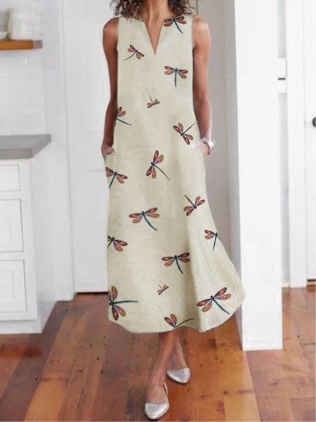Sleeveless Floral V Neck Cotton-Blend Dress