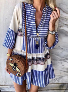 Women Spring Summer Boho Mini Dresses V Neck Shift Daily Cotton Paneled Dresses
