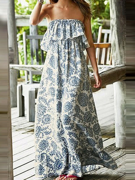 Off Shoulder Blue Women Casual Paneled Floral Floral Dress