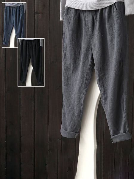 Linen Casual Solid Natural Pants