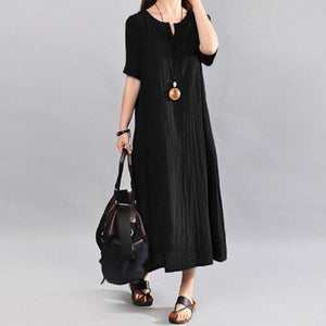 Plus Size Casual Short Sleeve Crew Neck Maxi Dress