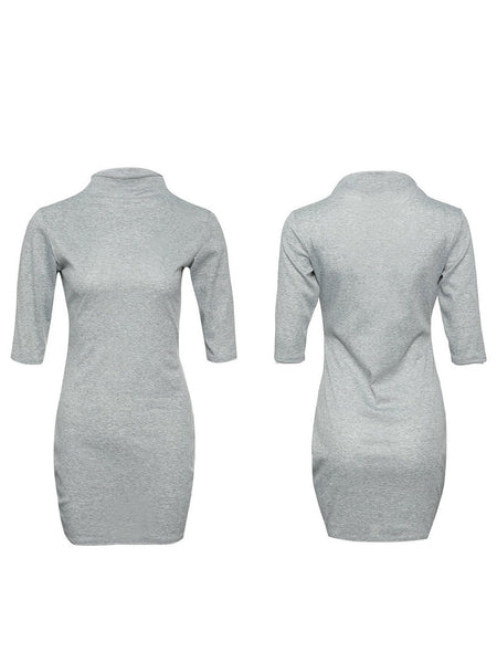 Shift Women Going out 3/4 Sleeve Elegant Paneled Solid Fall Dress