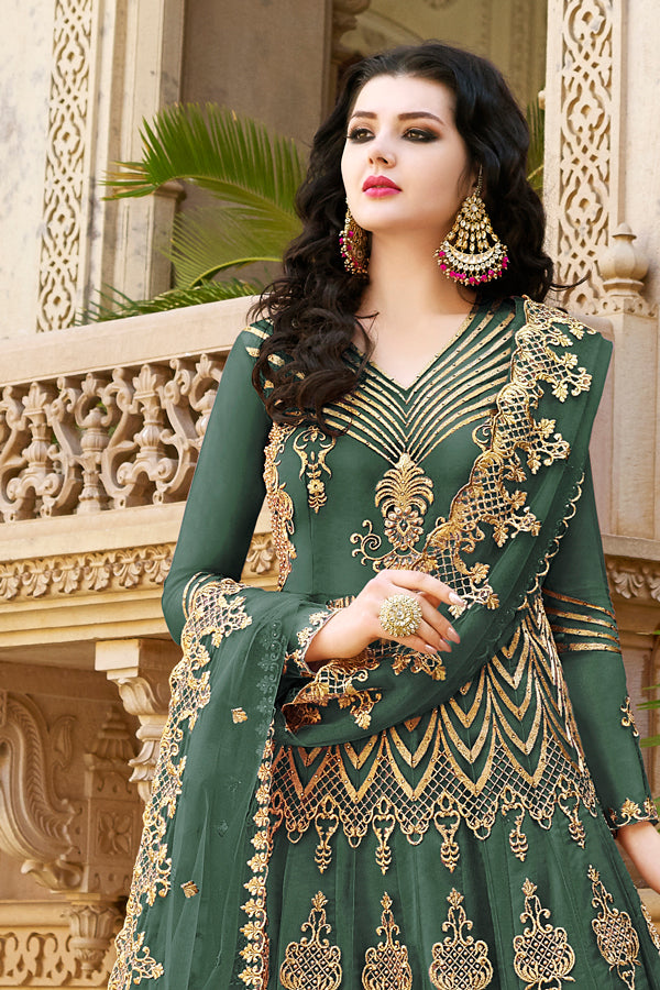 Teal Green Net Jari With Resham Embroidery With Stone Work