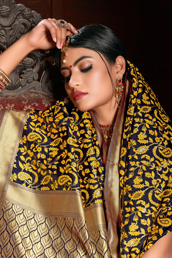 Mustard Weaving Art Silk Saree
