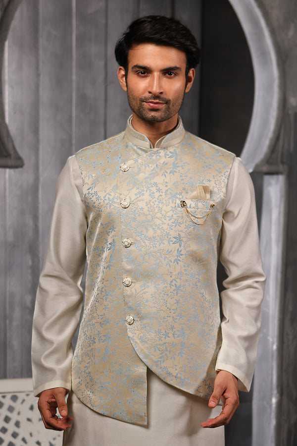Light Firozi With Cream 3 Pcs Kurta And Jacket