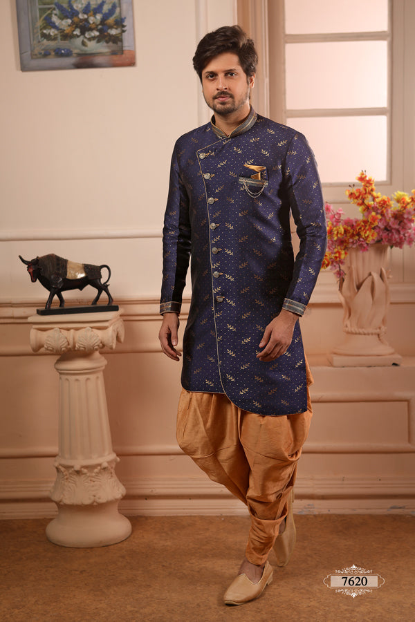 Blue Brocade Art Silk Semi Indo Western
