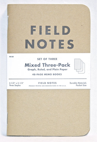 Mixed 3 Pack: Graphed, Ruled and Plain