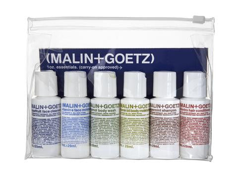 Malin and Goetz, essential kit, lukes drug mart, Calgary, Canada, 1 ounce bottles, grapefruit face cleanser, vitamin e face moisturizer, bergamot body wash, vitamin b5 body moisturizer, peppermint shampoo, cilantro conditioner, travel size,