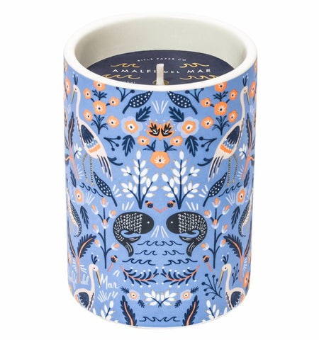 Rifle paper co, candle, Amalfi Del mar, Lukes drug mart, Calgary, Canada, features notes of eucalyptus, sea salt, lemongrass, and jasmine