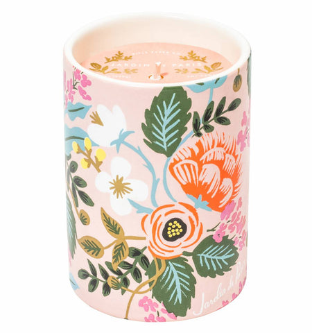 Rifle paper co, candle, Jardine De Paris, Lukes drug mart, Calgary, Canada, features notes of peony, white tea, gardenia, and sandalwood