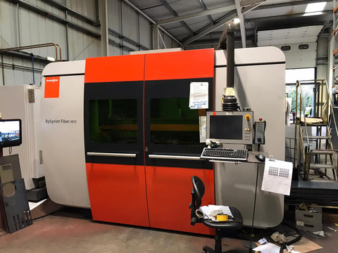 Bystronic for sale 2015 Bysprint Fiber 3015 With ByTrans Extended laser automation sheet loader twin fork removal compact cell used laser cutting machine for sale Australia CNC laser cutter