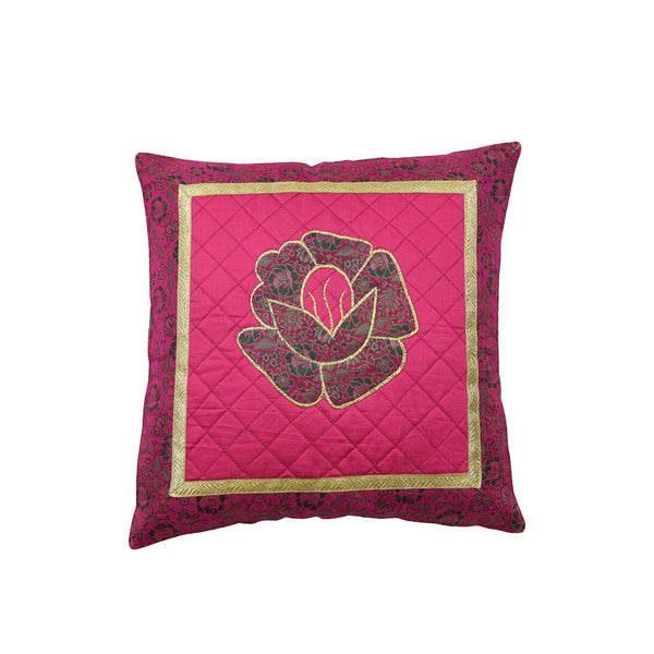 Jacquard SteppKissenhülle in Magenta-Lila mit blumenmuster Patchwork