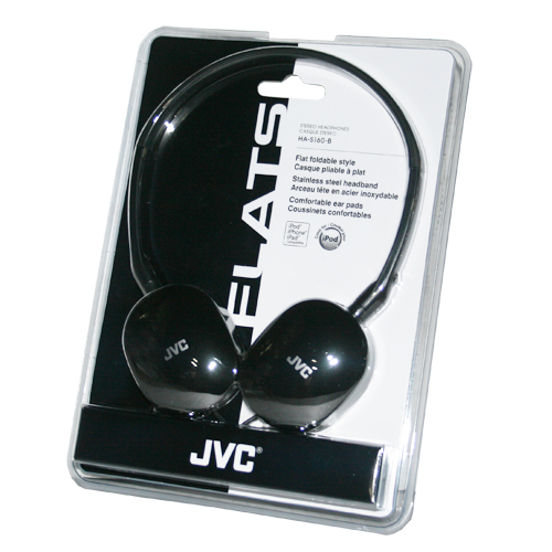 "JVC HA-S160-B BLACK ""FLATS"" LTWT FOLDABLE HP'S"