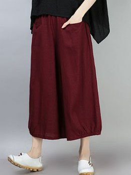 Solid Casual Pockets Plus Size Pants