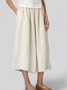 Basic Style Pockets Linen Pants Trousers
