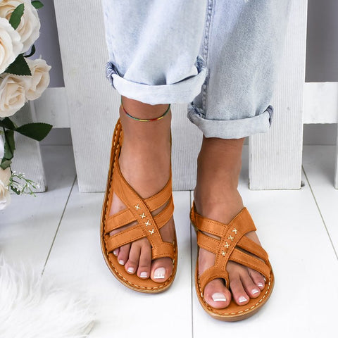 Casual Comfy Toe Ring Criss-Cross Sandals
