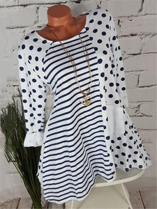 Plus Size Striped Long Sleeve T-Shirt