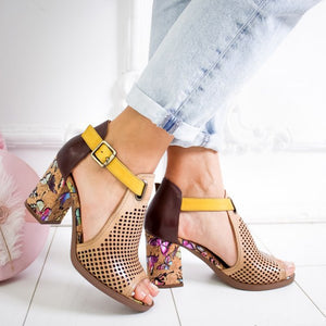 Printed Hollow-Out Summer Sandals