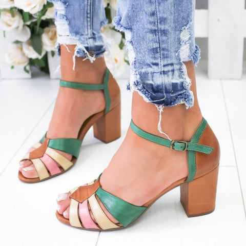 Summer Buckle Strap Chunky Heel Sandals