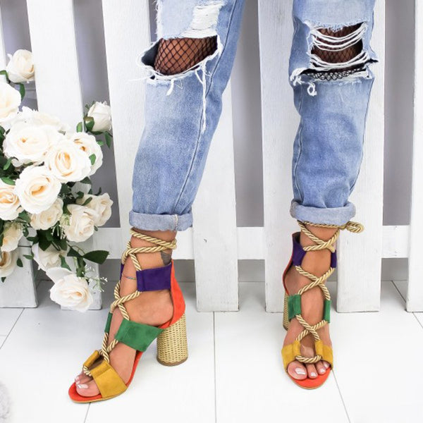 Color-block High Heel Lace Up Sandals