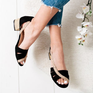 Summer Suede Low Heel Round Toe Sandals