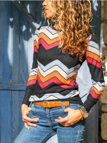 Long Sleeves Multi-color T-shirt