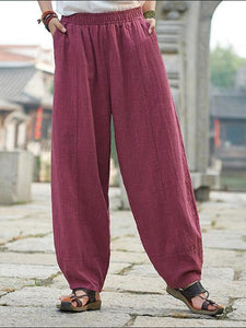 Pockets Solid Casual Turnip Pants