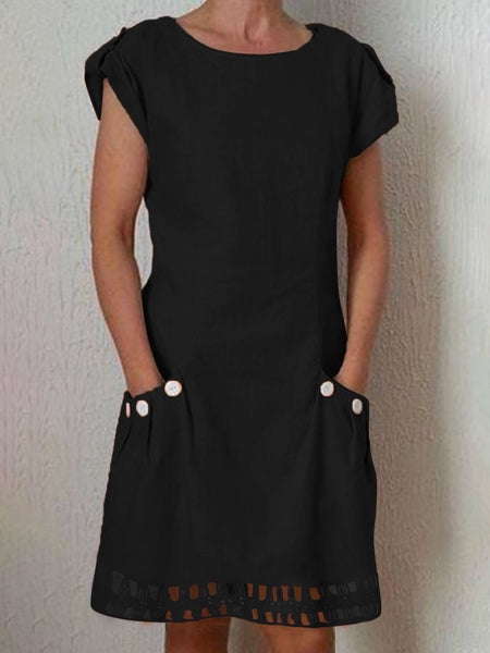 Short Sleeve Casual Buttoned Crew Neck Dress