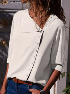 Side Buttoned Long Sleeve Blouse